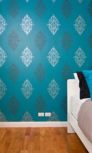 Beautiful interior bedroom with luxury blue wallpaper